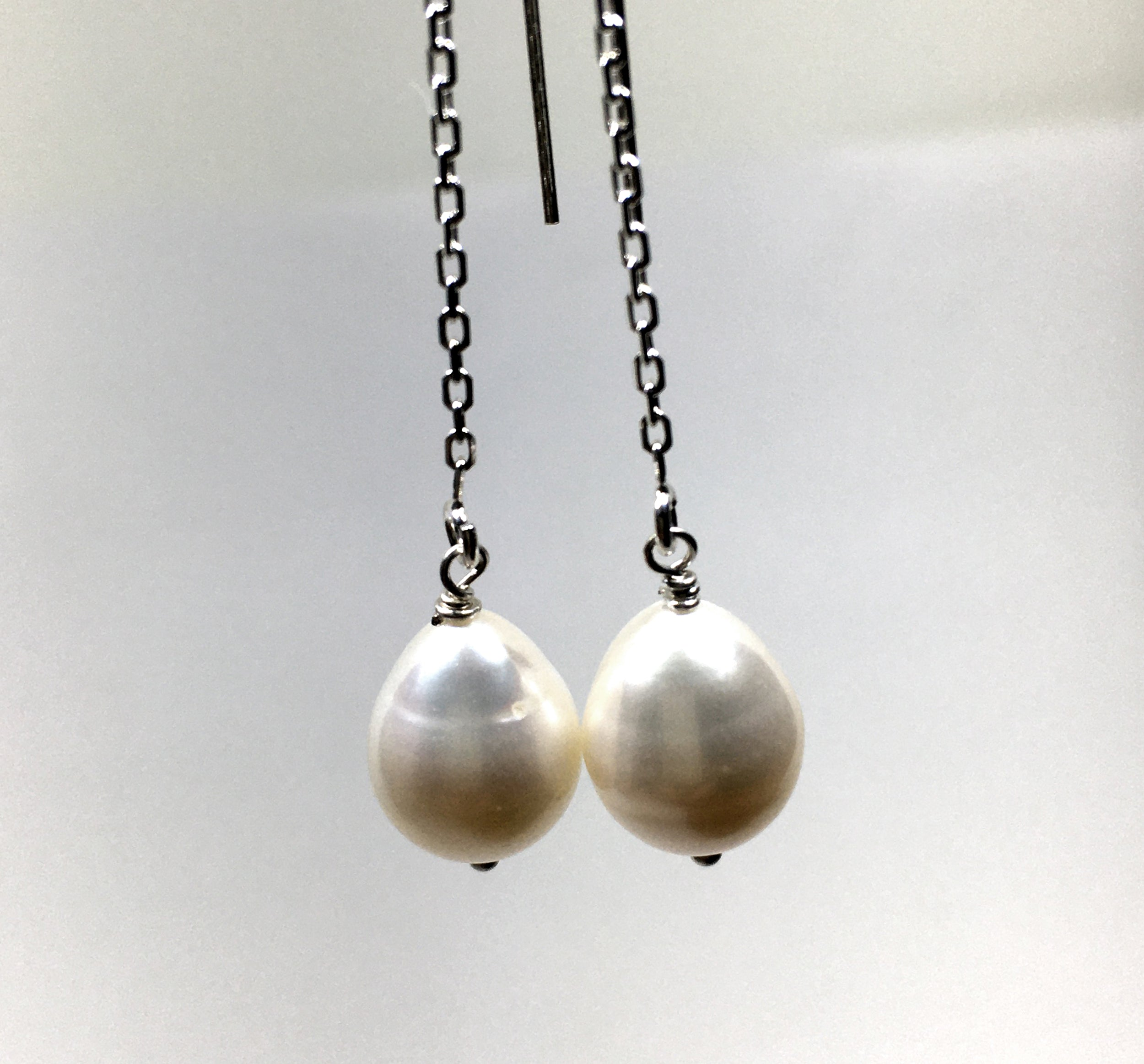 Cultured White Pearl Threader Earrings in Sterling Silver