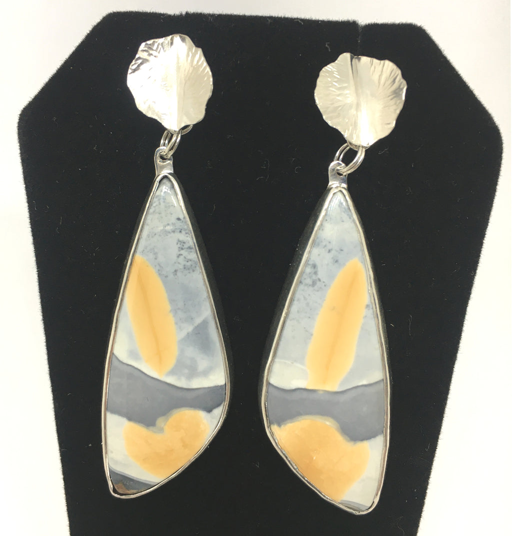 yellow and gray jasper earrings with hand forged sterling silver leaves
