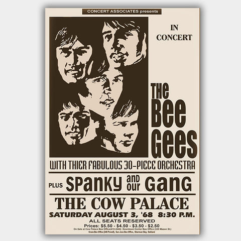 Bee Gees with Spanky & Gang & sinc (1968) - Concert Poster - 13 x 19 inches