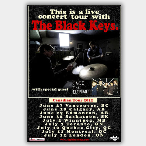 Black Keys with Cage The Elephant (2011) - Concert Poster - 13 x 19 inches