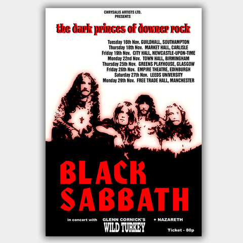 Black Sabbath with Nazareth (1972) - Concert Poster - 13 x 19 inches