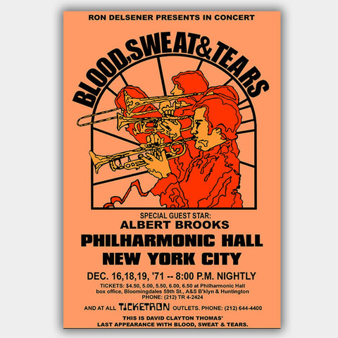 Blood Sweat & Tears with Albert Brooks (1971) - Concert Poster - 13 x 19 inches