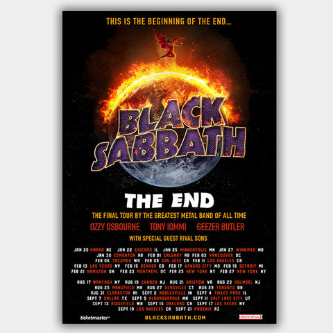 Black Sabbath with Rival Sons (2016) - Concert Poster - 13 x 19 inches