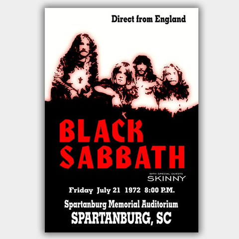 Black Sabbath with Skinny (1972) - Concert Poster - 13 x 19 inches