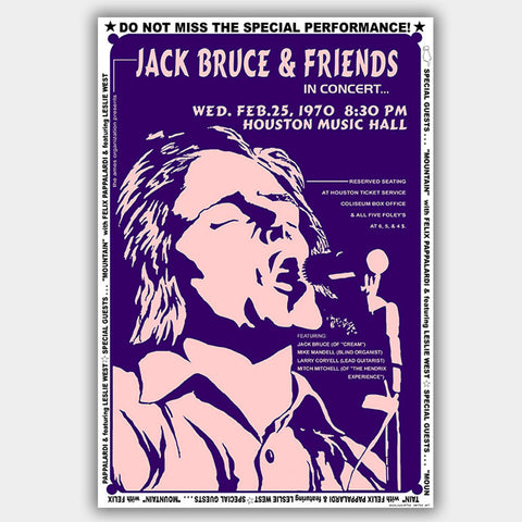 Jack Bruce with Mountain (1970) - Concert Poster - 13 x 19 inches