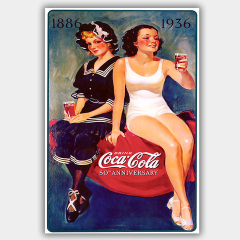 Coca Cola - Girls (1936) - Advertising Poster - 13 x 19 inches