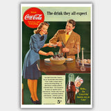 Coca Cola - Party (1942) - Advertising Poster - 13 x 19 inches