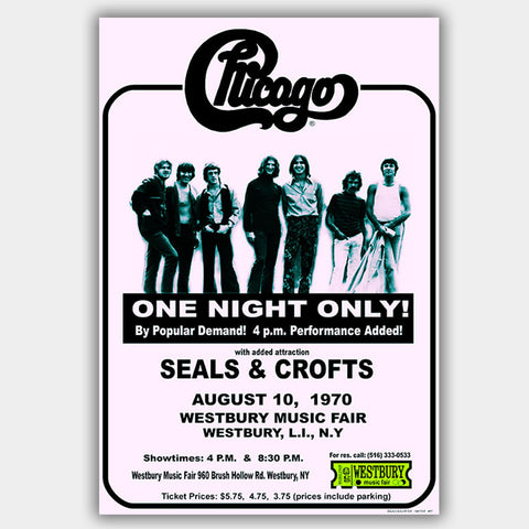 Chicago with Seals And Crofts (1970) - Concert Poster - 13 x 19 inches