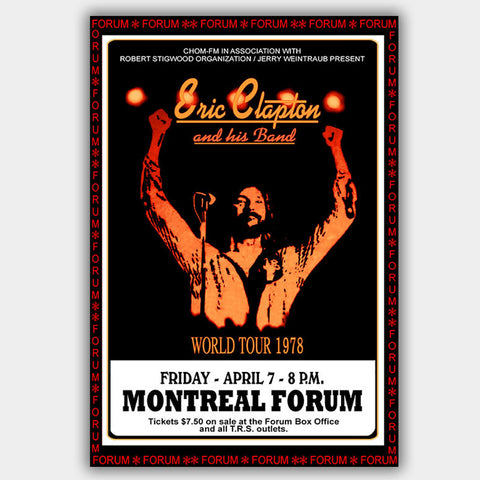 Eric Clapton (1978) - Concert Poster - 13 x 19 inches