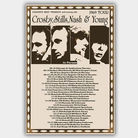 Crosby Stills & Nash (1969) - Concert Poster - 13 x 19 inches