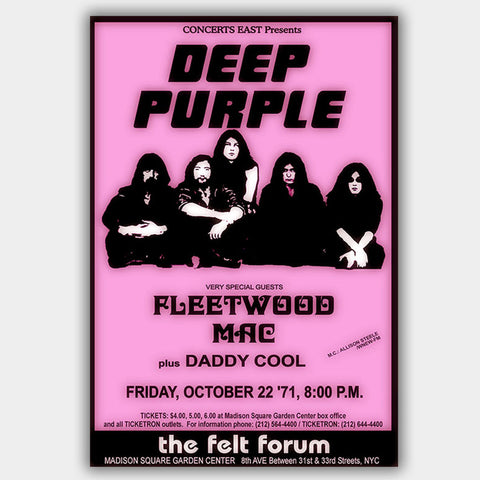 Deep Purple with Fleetwood Mac (1971) - Concert Poster - 13 x 19 inches