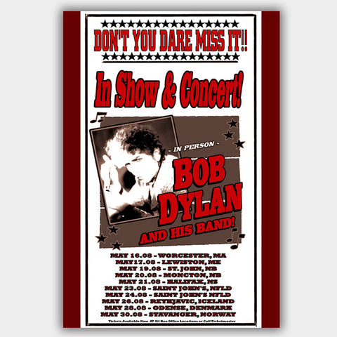 Bob Dylan (2008) - Concert Poster - 13 x 19 inches
