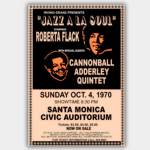 Roberta Flack with Cannonball Adderley Quintet (1970) - Concert Poster - 13 x 19 inches