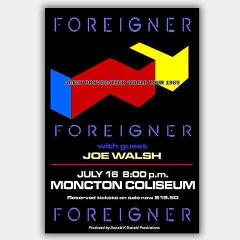 Foreigner with Joe Walsh (1985) - Concert Poster - 13 x 19 inches