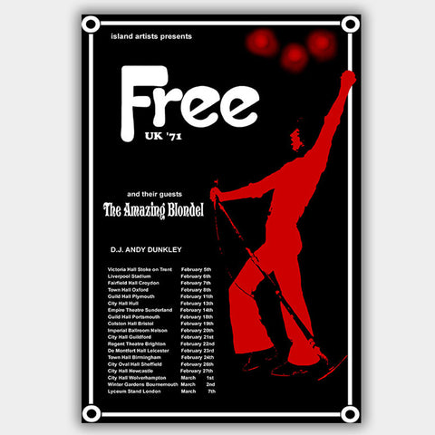 Free with Amazing Blondel (1971) - Concert Poster - 13 x 19 inches