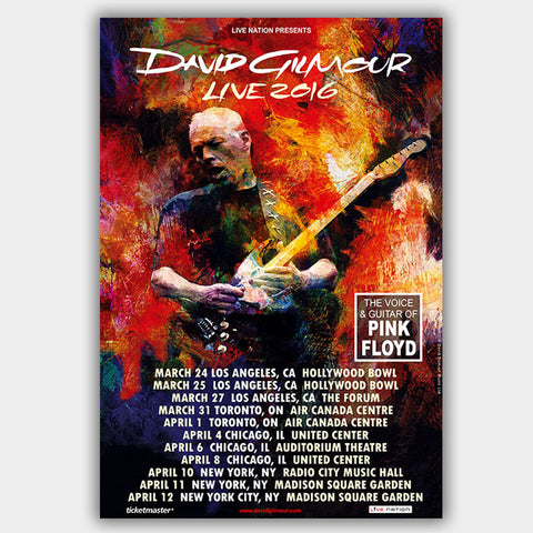 David Gilmour (2016) - Concert Poster - 13 x 19 inches