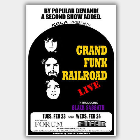 Grand Funk with Black Sabbath (1971) - Concert Poster - 13 x 19 inches