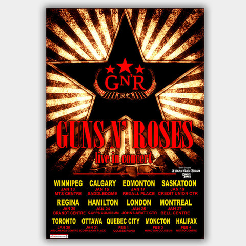 Guns N' Roses with Danko Jones (2010) - Concert Poster - 13 x 19 inches