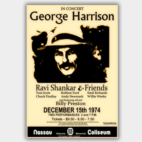 George Harrison with Billy Preston (1974) - Concert Poster - 13 x 19 inches