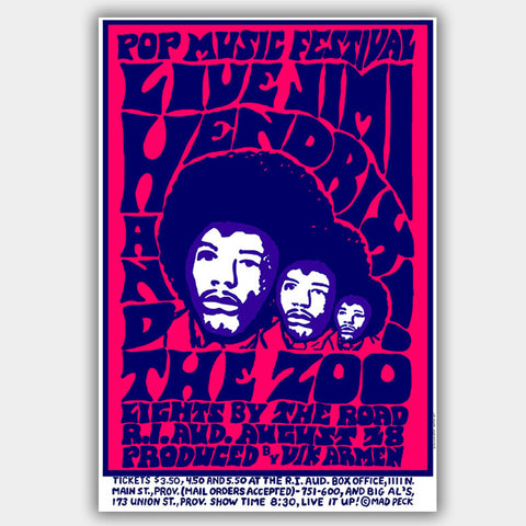 Jimi Hendrix with The Zoo (1968) - Concert Poster - 13 x 19 inches