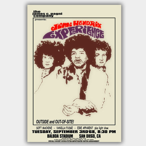 Jimi Hendrix with Vanilla Fudge (1968) - Concert Poster - 13 x 19 inches
