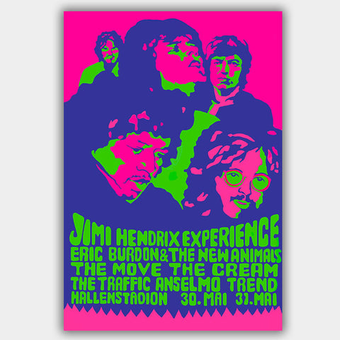 Jimi Hendrix with Cream & Animals (1968) - Concert Poster - 13 x 19 inches