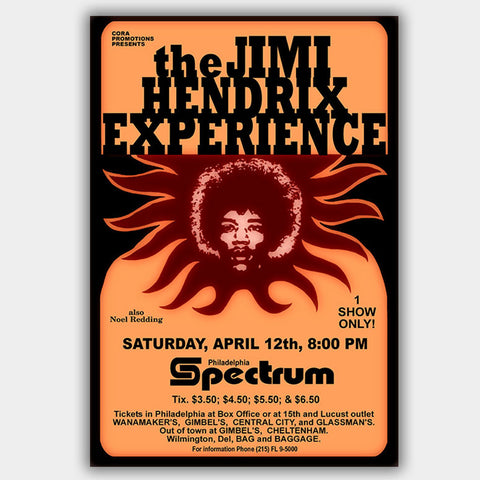 Jimi Hendrix (1969) - Concert Poster - 13 x 19 inches