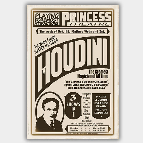 Harry Houdini (1926) - Poster - 13 x 19 inches