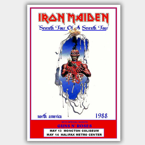 Iron Maiden with Guns N Roses (1988) - Concert Poster - 13 x 19 inches