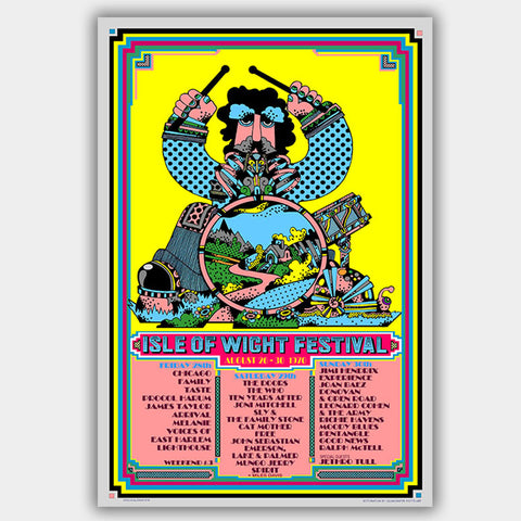 Isle Of Wight with Hendrix & Doors (1970) - Concert Poster - 13 x 19 inches