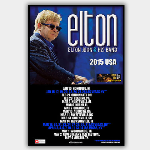 Elton John (2015) - Concert Poster - 13 x 19 inches
