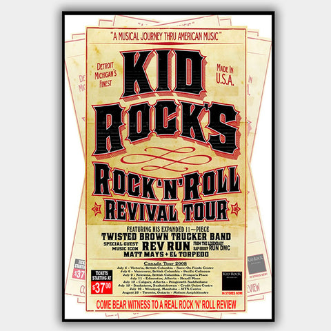Kid Rock with Matt Mays (2008) - Concert Poster - 13 x 19 inches