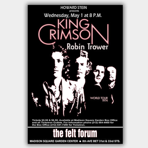 King Crimson with Robin Trower (1974) - Concert Poster - 13 x 19 inches
