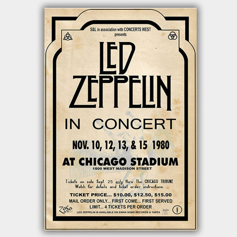 Led Zeppelin (1980) - Concert Poster - 13 x 19 inches