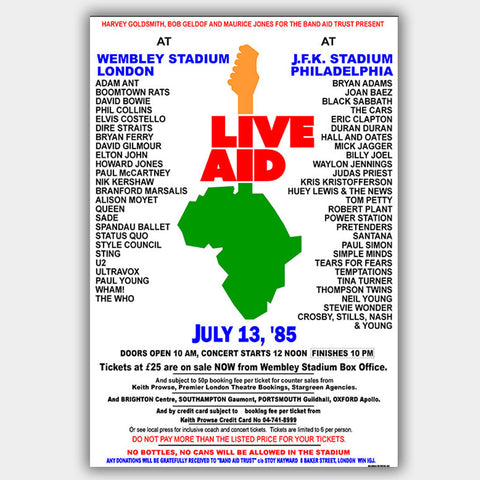Live Aid  (1985) - Concert Poster - 13 x 19 inches