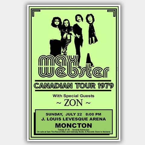 Max Webster with Zon (1979) - Concert Poster - 13 x 19 inches