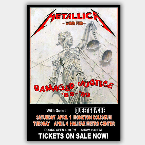 Metallica with Queensryche (1989) - Concert Poster - 13 x 19 inches