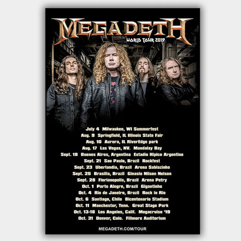 Megadeth (2019) - Concert Poster - 13 x 19 inches