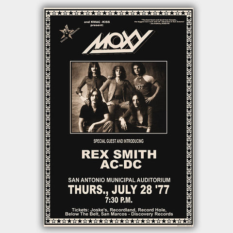 Moxy with AC/DC (1977) - Concert Poster - 13 x 19 inches