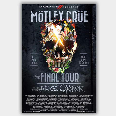 Motley Crue with Alice Cooper (2014) - Concert Poster - 13 x 19 inches