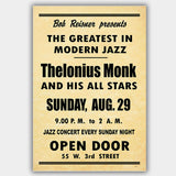 Thelonious Monk (1954) - Concert Poster - 13 x 19 inches
