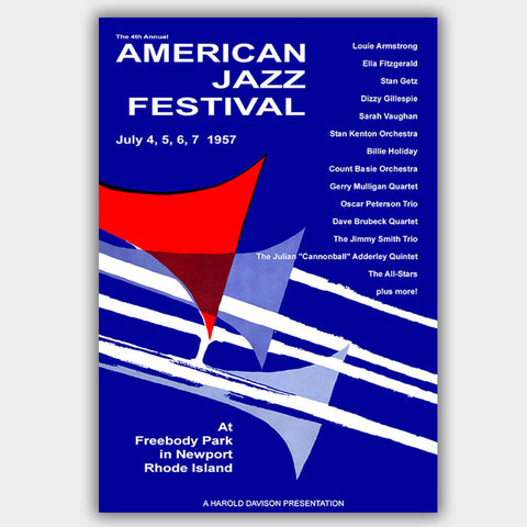 Newport Jazz Festival with Fitzgerald & Holiday (1957) - Concert Poster - 13 x 19 inches