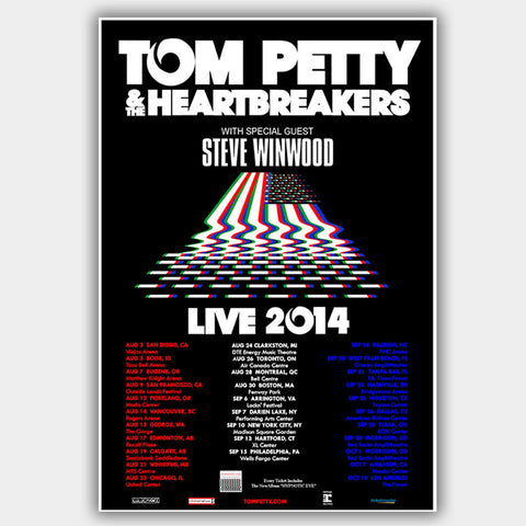 Tom Petty with Steve Winwood (2014) - Concert Poster - 13 x 19 inches