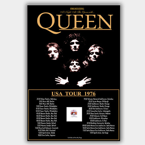Queen (1976) - Concert Poster - 13 x 19 inches