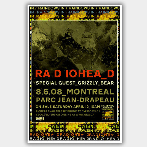 Radiohead with Grizzly Bear (2008) - Concert Poster - 13 x 19 inches