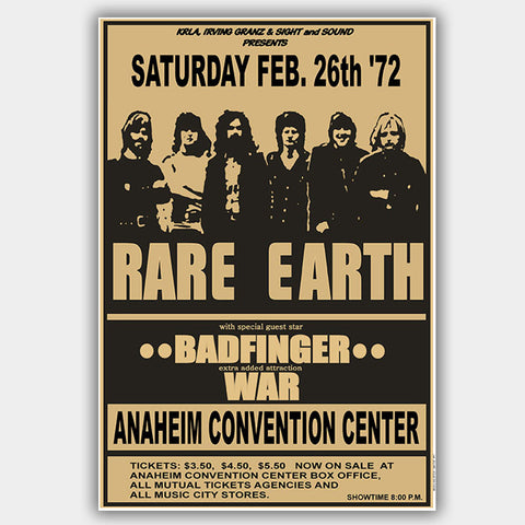 Rare Earth with Badfinger & War (1972) - Concert Poster - 13 x 19 inches