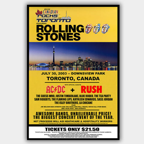 Rolling Stones with AC/DC & Rush (2003) - Concert Poster - 13 x 19 inches