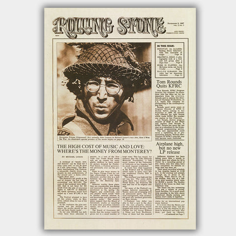 Rolling Stone Magazine with First Issue (1967) - Concert Poster - 13 x 19 inches