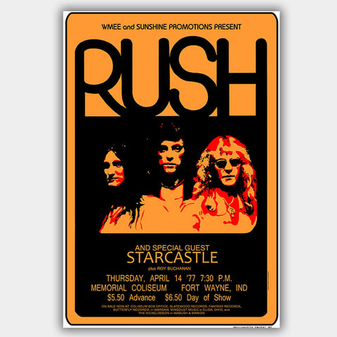 Rush with Starcastle (1977) - Concert Poster - 13 x 19 inches
