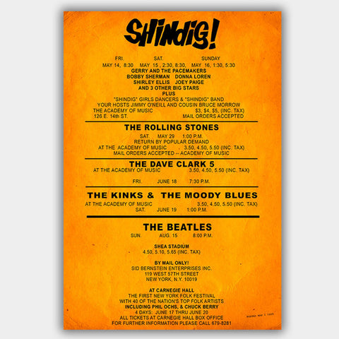 Shindig with The Beatles & Rolling Stones (1965) - Concert Poster - 13 x 19 inches